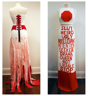 These are two pieces from the collection that I proceeded to constrcut with bedsheets, fabric, and paint